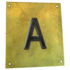 Solid Brass & Enamel Letter Initial Plaque ( A ) Vintage c1960