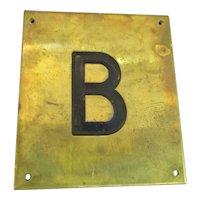 Solid Brass & Enamel Letter Initial Plaque ( B ) Vintage c1960