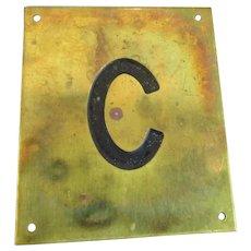 Solid Brass & Enamel Letter Initial Plaque ( C ) Vintage c1960