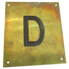 Solid Brass & Enamel Letter Initial Plaque ( D ) Vintage c1960