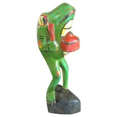 Solid Carved Wood Mexican Frog Mariachi Band Vintage Folk Art c1950