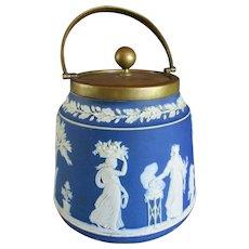 Wedgwood Silver Plated Blue Jasperware Biscuit Barrel Vintage Art Deco c1920