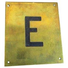 Solid Brass & Enamel Letter Initial Plaque ( E ) Vintage c1960