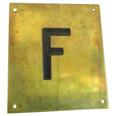 Solid Brass & Enamel Letter Initial Plaque ( F ) Vintage c1960