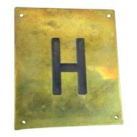 Solid Brass & Enamel Letter Initial Plaque ( H ) Vintage c1960