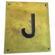 Solid Brass & Enamel Letter Initial Plaque ( J ) Vintage c1960