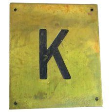 Solid Brass & Enamel Letter Initial Plaque ( K ) Vintage c1960