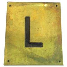 Solid Brass & Enamel Letter Initial Plaque ( L ) Vintage c1960
