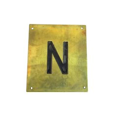 Solid Brass & Enamel Letter Initial Plaque ( N ) Vintage c1960