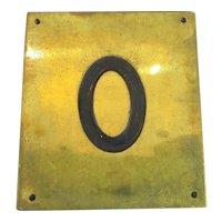 Solid Brass & Enamel Letter Initial Plaque ( Q ) Vintage c1960