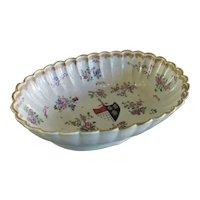 Chinese Export Porcelain Floral & Crested Bowl Antique Georgian c1820