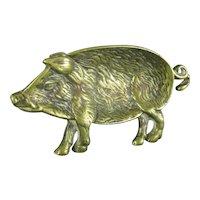 Brass Wild Boar Dish Vintage Mid Century c1960