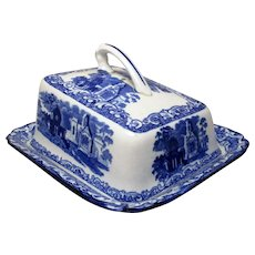 Antique Victorian Abbey Ware Blue & White Cheese Dish