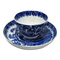 Antique Blue & White Oriental Pattern Tea Bowl and Saucer c.1790