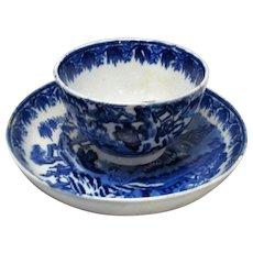 Antique Blue & White Oriental Pattern Tea Bowl and Saucer c.1790