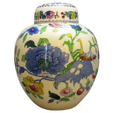 Large Antique Victorian English 'Masons Regency' Ginger Jar.