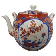 Japanese Imari Pattern Ceramic Teapot Antique Victorian c.1850.