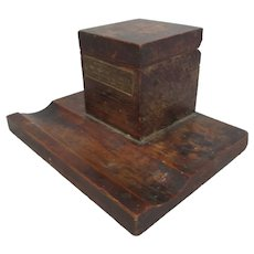 Wooden Commemorative Inkwell- Timber from HMS Queen Elizabeth - British Navy WW1