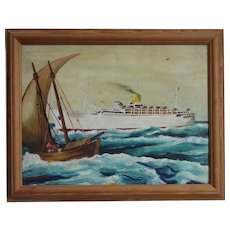 Vintage Framed Oil on Canvas Cruise Ship SS Chusan Painting c1951.
