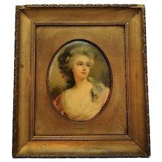 English Miniature Portrait Antique c.1900.