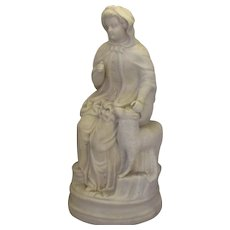 Parian Ware Figure of Little Bo Peep Antique Victorian c1880.