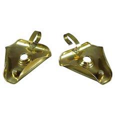 Brass Pair Of Chamber Sticks Antique Art Nouveau c1910.