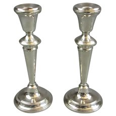 Pair Of Sterling Silver Candlesticks Antique Victorian London 1900.
