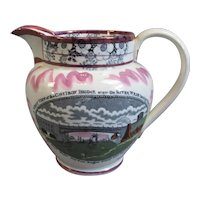 Sunderland Lustre Jug View of Iron Bridge Antique c1840