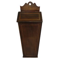 Mahogany Tunbridge Ware Candle Box Antique Victorian c1900