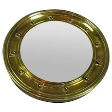 Brass Porthole Convex Mirror Vintage c1950