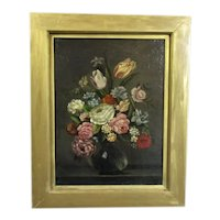 Oil on Canvas Still Life of Flowers Painting Antique 19th Century