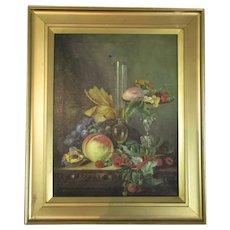 Framed Oil on Canvas Still Life Antique c1900