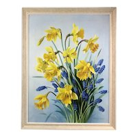 Sill Life Daffodil And Grape Hyacinth By Vestey Rich Oil On Canvas British Vintage c1960