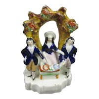 Small Staffordshire Flat Back Figural Group Antique Mid 19th Century