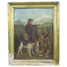 Oil on Board painting of a Hunter & his Dogs Antique c1840