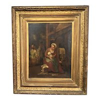 Oil On Canvas Painting Of A Lady With A Baby Antique Victorian c1880