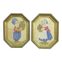 Pair of Small Framed Dutch Tapestry Pictures Antique c1920