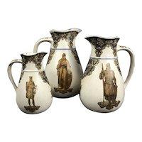 Aesthetic Movement Arts & Crafts Set Of 3 Graduated Jugs Victorian Antique c1880
