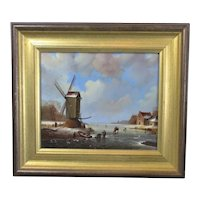 Framed Oil on Board Dutch Style Landscape by R Campbell Vintage c1965