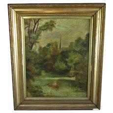 Gilt Framed Oil on Canvas River Scene Antique c1900