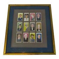 Framed Set of Player's Tea Cards 'Famous People' Vintage c1930