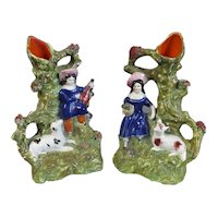 Pair of Small Staffordshire Spill Vases Antique c1860
