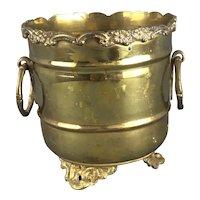 Brass Jardinière Ring Handles Antique Victorian c1880