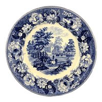 George III Blue & White Welsh Plate Cows And Stream Georgian Antique c1820
