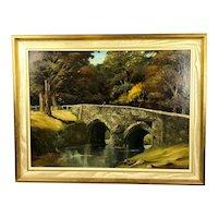 EJ Wilson Oil on Canvas Stanton Drew Bridge Vintage Mid Century 1968
