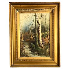 Oil on Canvas Framed Painting River Fishing in Woodlands Signed Victorian Antique c1900