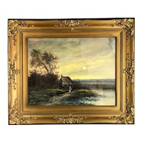 Oil on Canvas Framed Painting Peaceful Walk by the Lake or Sea Victorian Antique c1900