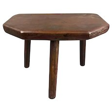 Small Three Legged Wooden Milking Stool or Side Table Antique Victorian c1880