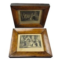 Pair Early Victorian Couch Framed Prints Antique c1850