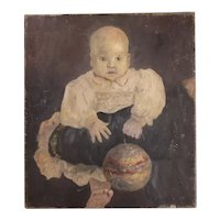 Oil On Canvas Of A Baby Vintage Mid-century c1960